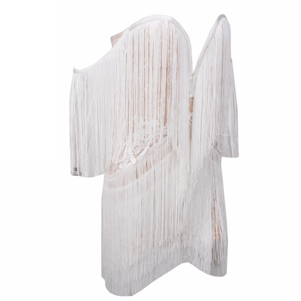 'Laya-Love' white fringe tassel sweetheart mini dress