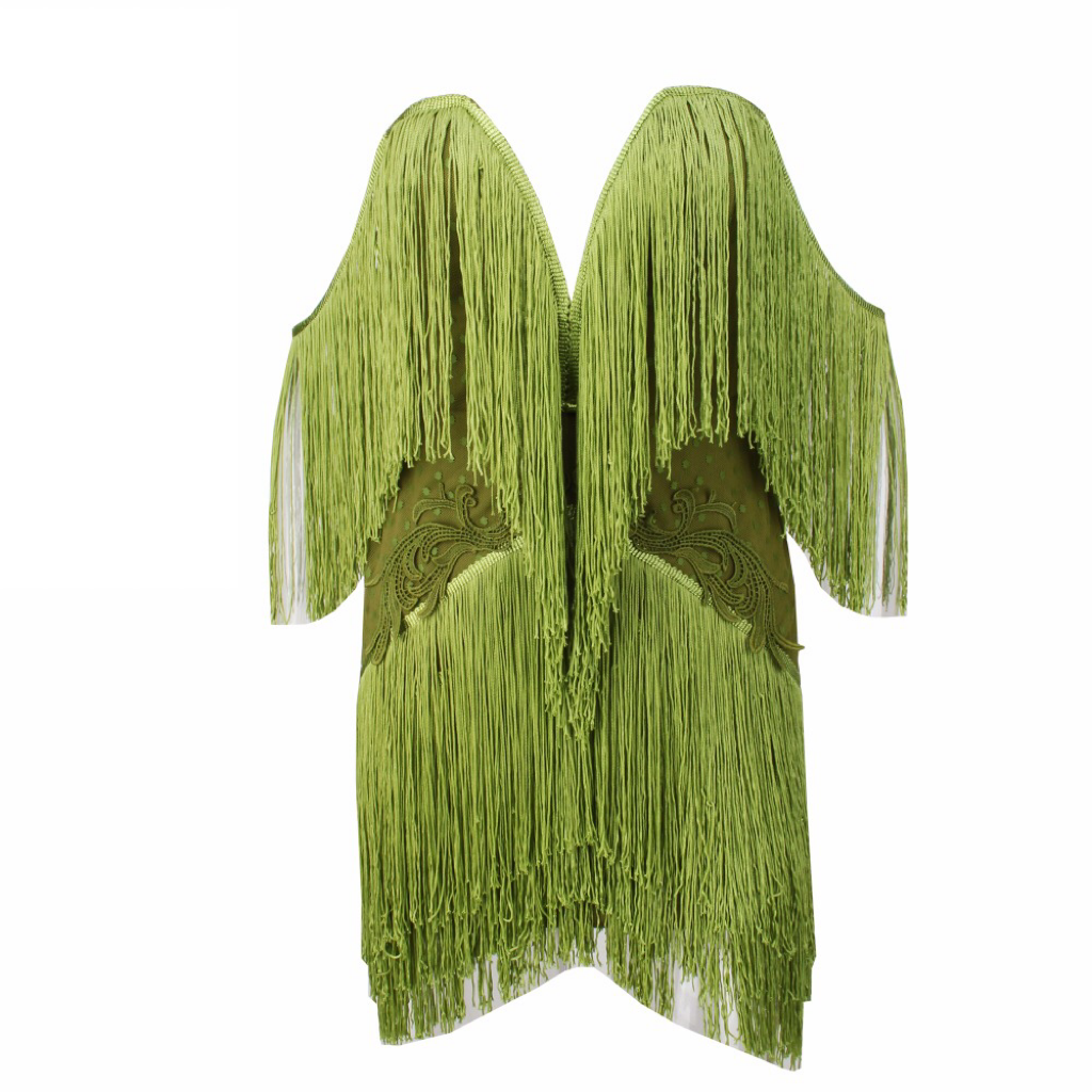 'Laya-Love' green fringe tassel sweetheart mini dress