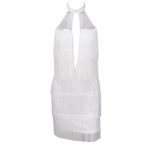 'Abbi' strapless perforated layered tassel fringe dress