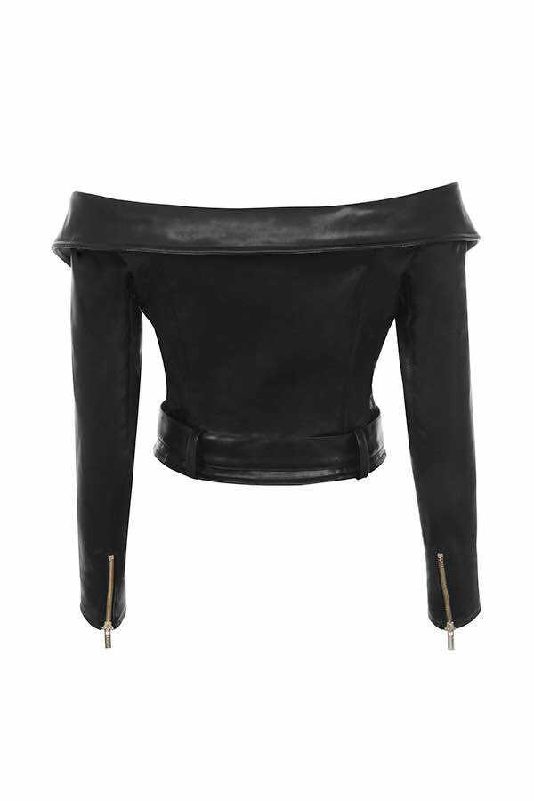 'Rebel' off the shoulder faux leather biker jacket