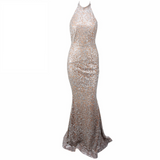 'Rona' nude and silver glitter baroque halter gown