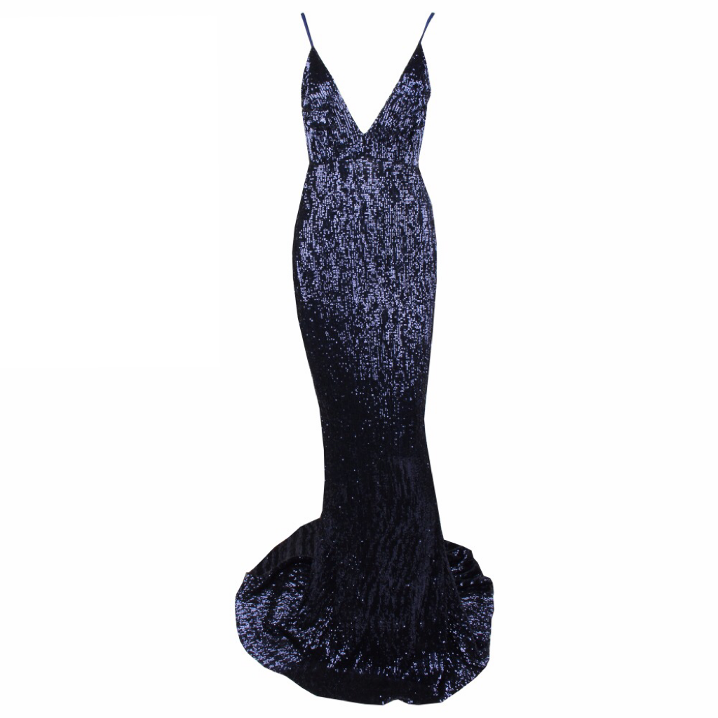 'Bea' midnight blue sequin plunge gown