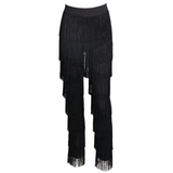 'Ohana' black fringe tassel layered high waisted trousers