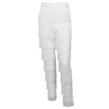 'Ohana' white fringe tassel layered high waisted trousers