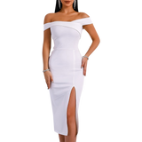 'Lacey' white asymmetric off the shoulder dress