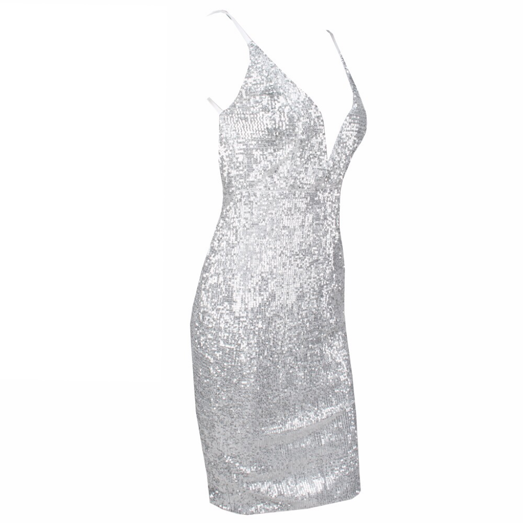 'Daryn' silver sequin V plunge dress