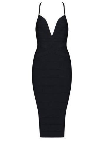 'Kizzy' black deep plunge mesh insert bandage dress