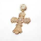 'Amina'  Gold cross crystal detail earrings