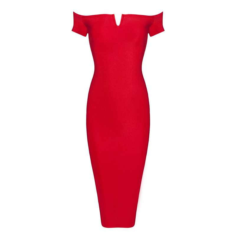 'Kerry' Off the shoulder short sleeve mini v plunge midi dress- Red
