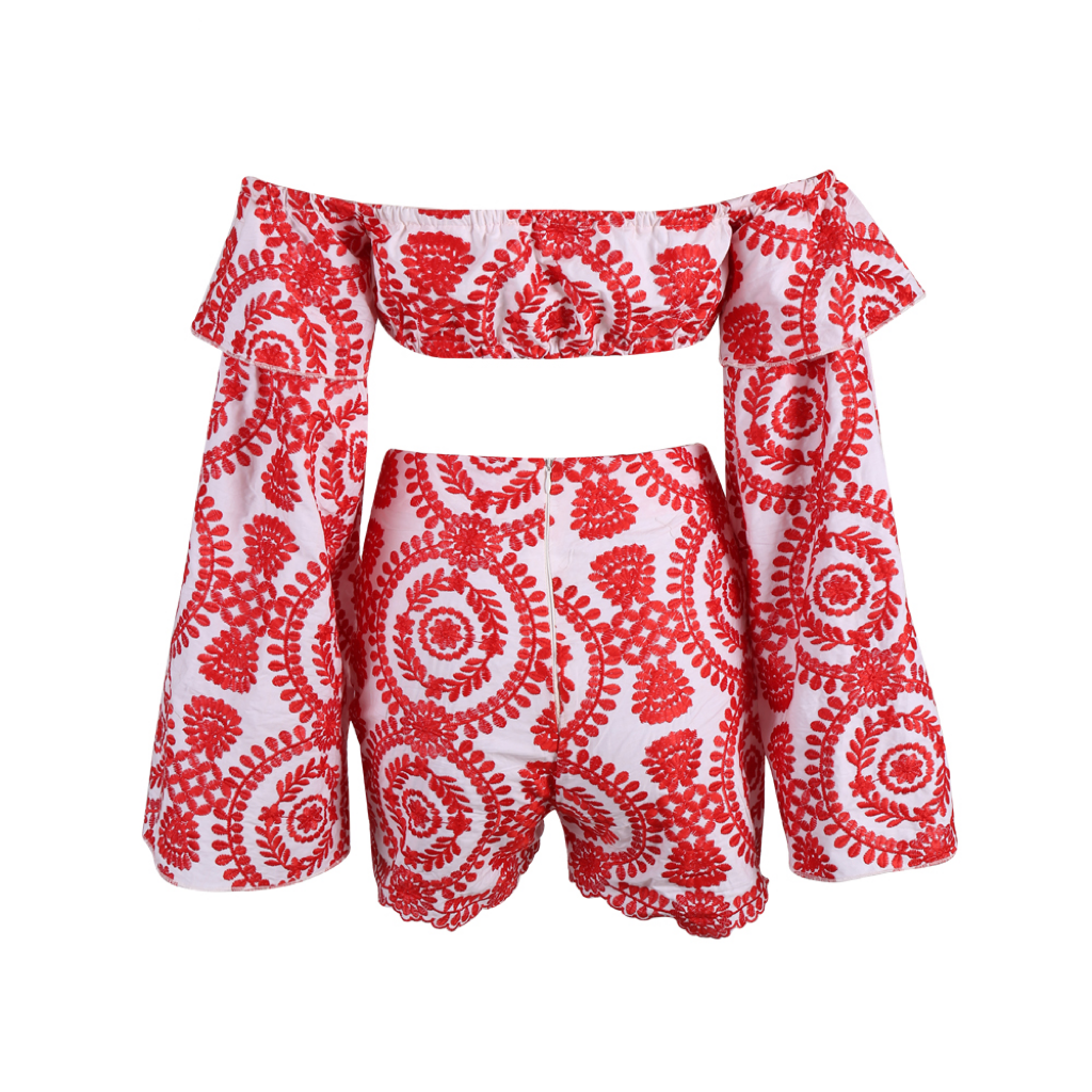 'Ena' red printed ruffle two piece