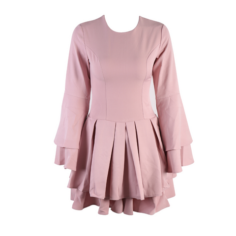 'Allie' pink cold shoulder short  ruffle sleeve bandage