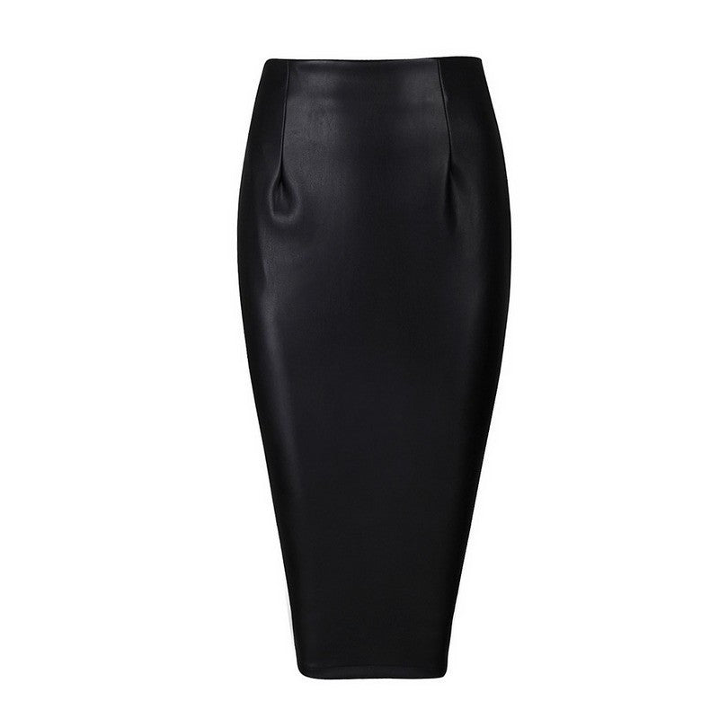'Nada' Black Faux Leather Pencil Skirt