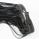 'Leena'  Black faux leather tassel fringe buckle belt