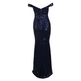 'Hene' Cold shoulder midnight blue sequin embellished gown