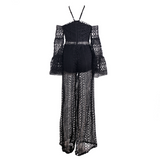 'Coachella' black cold shoulder crochet jumspuit