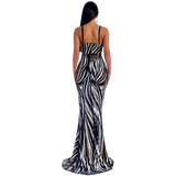 'Jackilyn' gold, white and black multi-stripe sequin gown