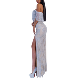 'Angel-Love' silver  glitter off the shoulder fringe maxi  tassel dress