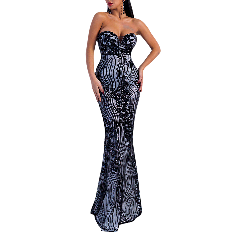 'Vega' black and grey sequin pattern strapless gown