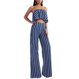 'Dreezy' navy and white stripe wide le trouser two-piece set