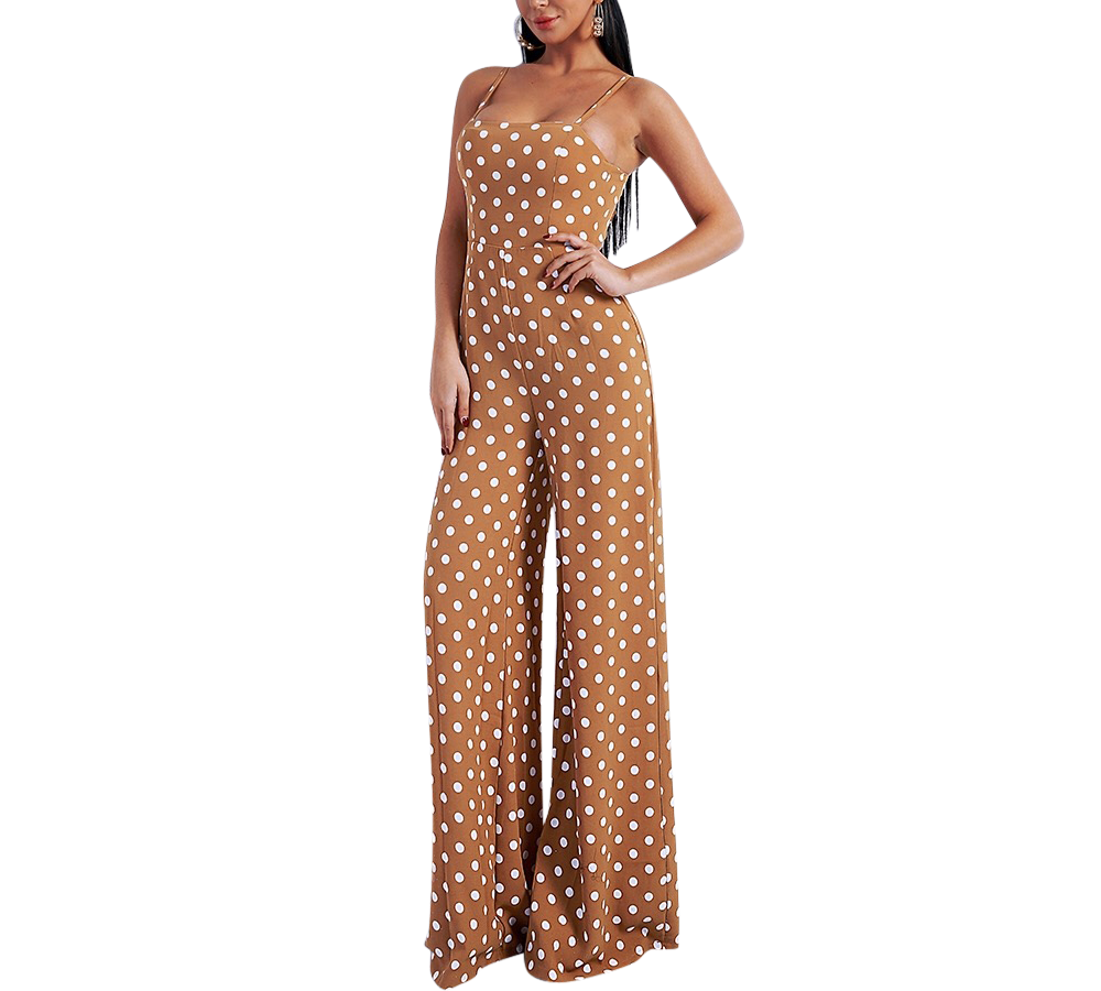 'Shelley' Tan polka dot jumpsuit