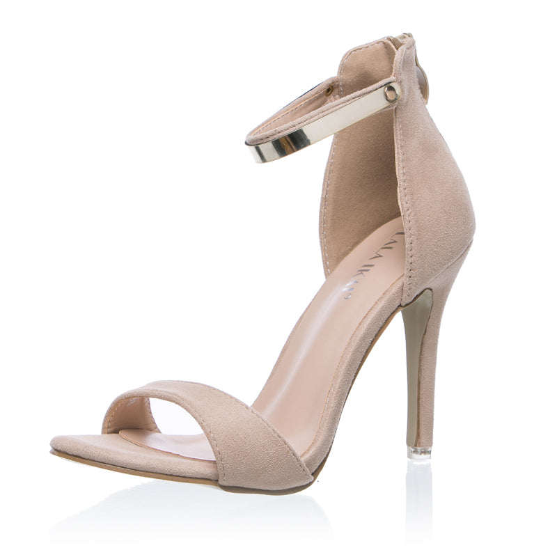 'Call me' nude metal accent strappy heel sandals