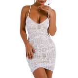 'Mase' white lace fitted mini