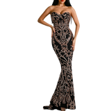 'Amala' black and gold baroque strapless gown