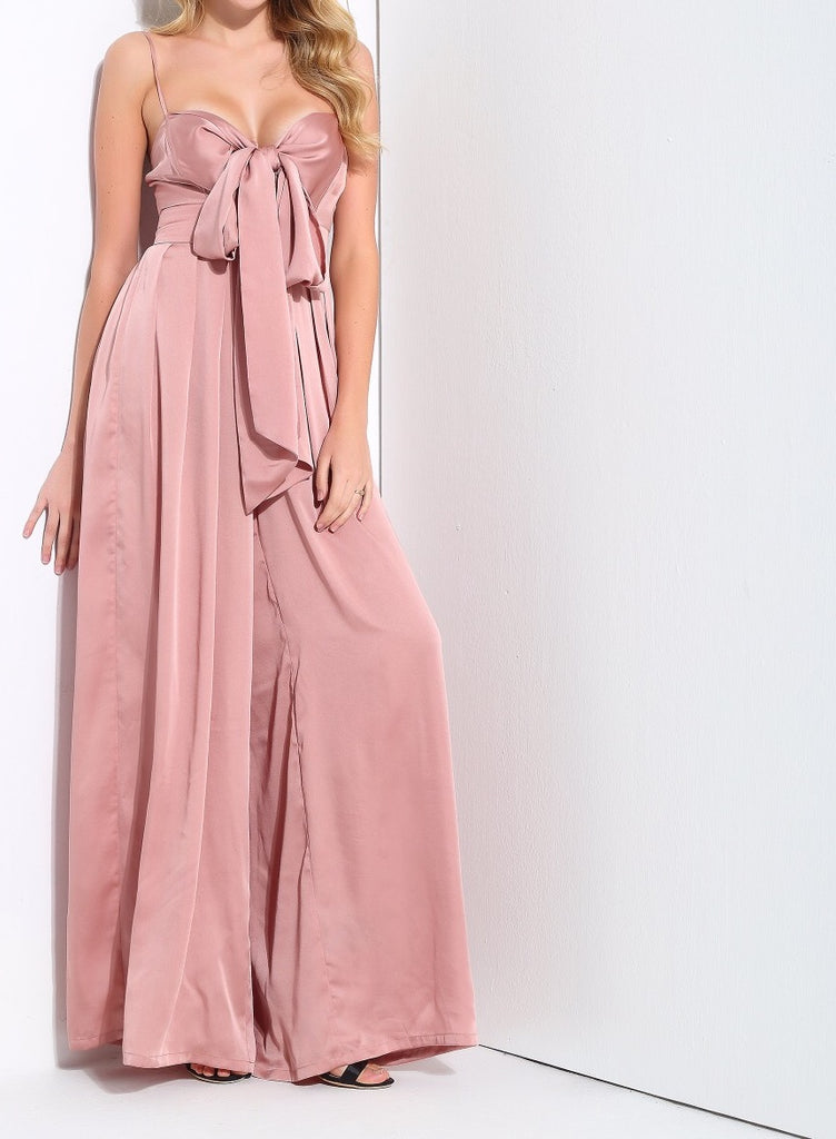 'Andie' blush satin like exaggerated front tie jumpsuit