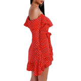 'Amy-May' off the shoulder red polka dot ruffle sleeve wrap dress