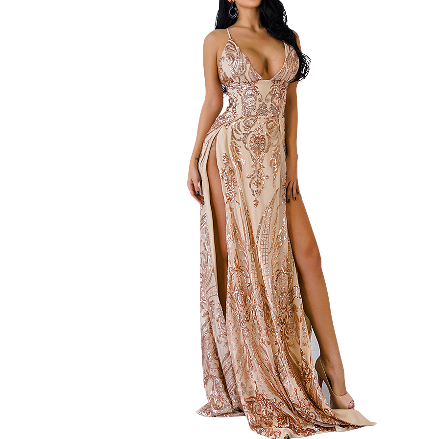 Alia\' gold and nude high split baroque gown – Oh My Purple