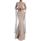 'Majestic' nude silver glitter exaggerated split sleeve gown