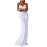 'Bless' white baroque sequin spaghetti strap gown