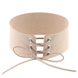 'Tropez' Lace up choker black,white,nude,brown