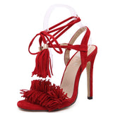 'Forever me' red faux suede tassel strappy sandals