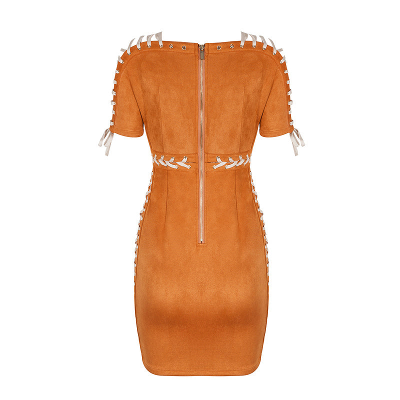 'Pochan' tan suedette short sleeve lace up dress