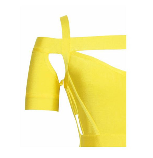 'Melon' yellow cut out bandage dress