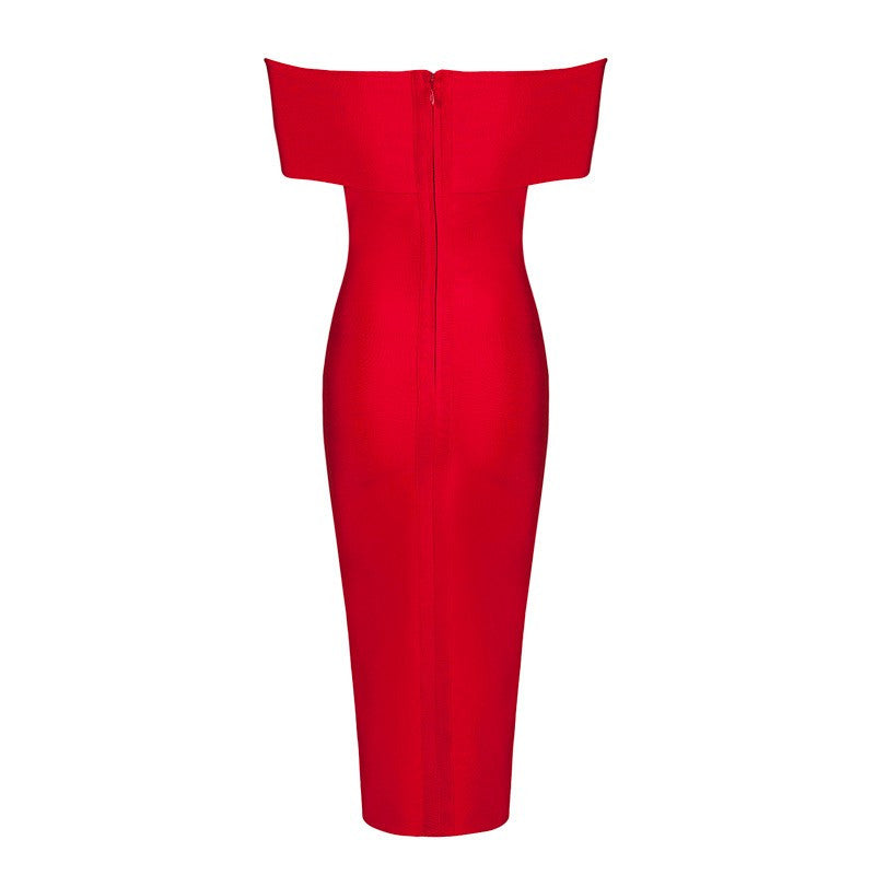 'Caitlin' Red Bardot bandage midi dress