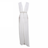 'Pellie' white silver waist belt beach cover up