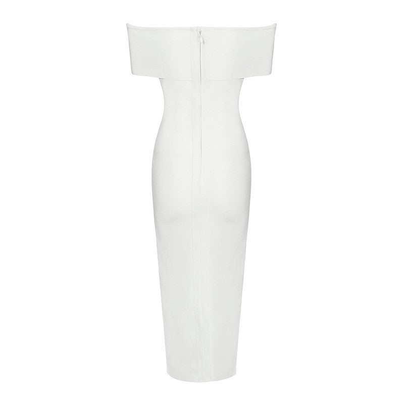 'Caitlin' white Bardot bandage midi dress