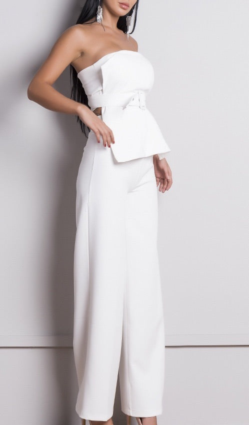 'Annie' white trouser two piece