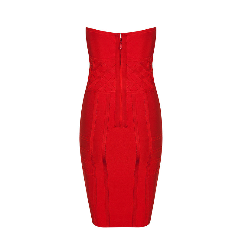 'Flo' red bustier woven strapless bandage dress
