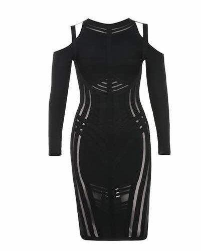 'Freda' black mesh stripe insert cold shoulder bandage dress