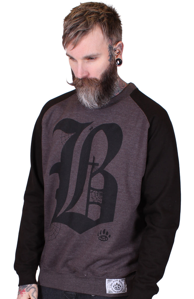Men's Black/charcoal Crewneck Sweatshirt - B - Alternative Streetwear & Street Style from Bear Knuckle Brawlers
