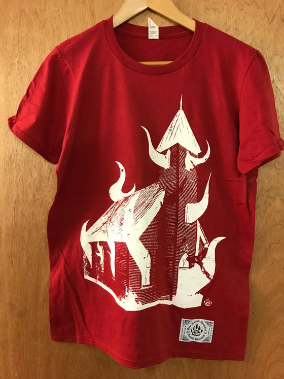Burn the Church Deep Red Tee - Small - Alternative Streetwear & Street Style from Bear Knuckle Brawlers