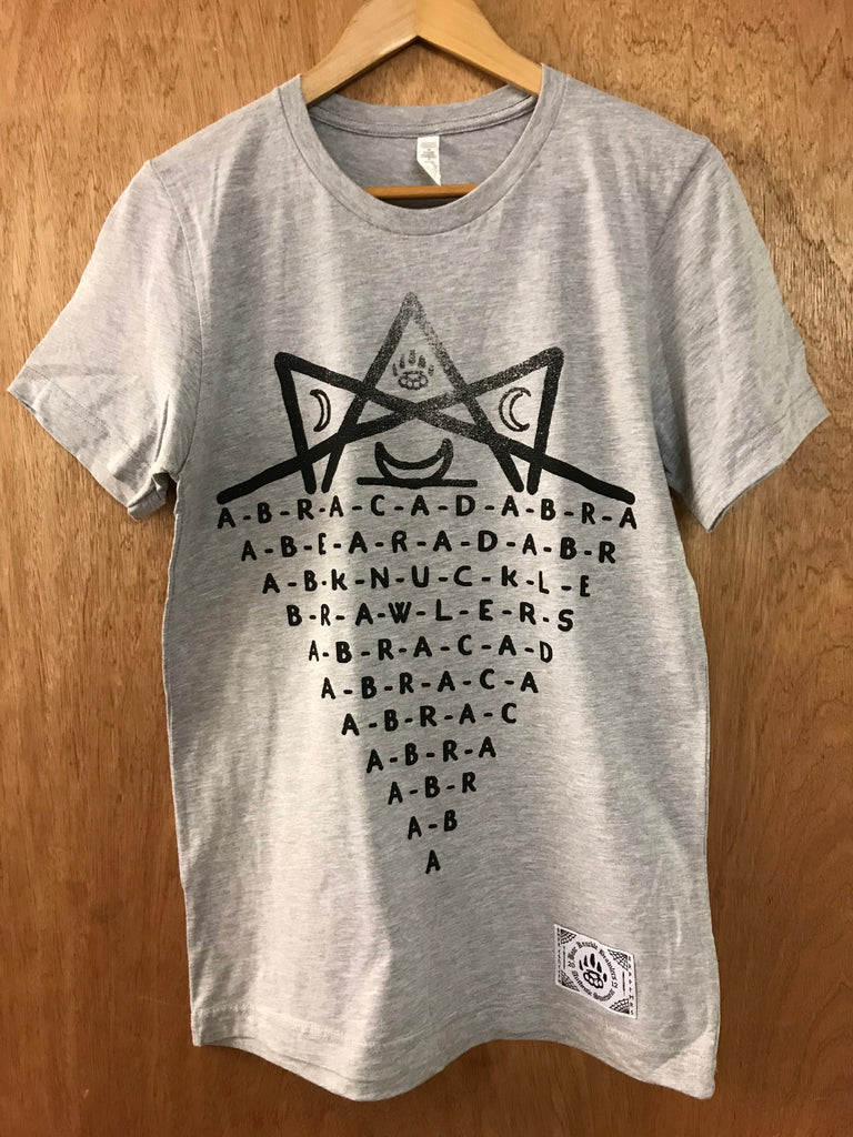 Abracadabra Grey Tee - Small - Alternative Streetwear & Street Style from Bear Knuckle Brawlers