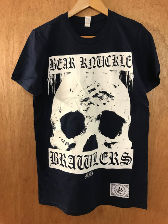 Biker Navy Tee - Small - Alternative Streetwear & Street Style from Bear Knuckle Brawlers
