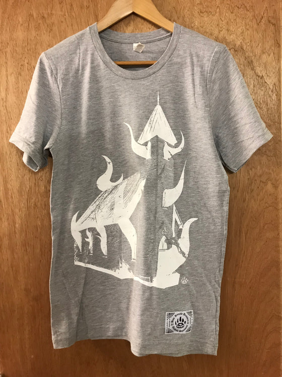 Burn the Church Grey Tee - Small - Alternative Streetwear & Street Style from Bear Knuckle Brawlers