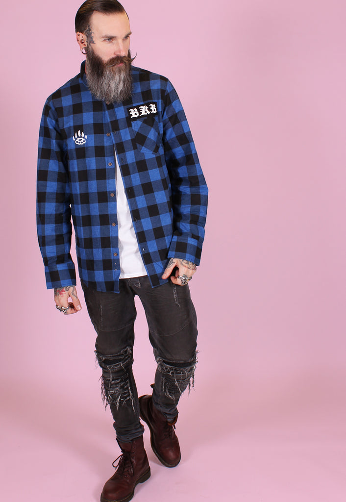 Brushed Bat Shirt - Blue - Alternative Streetwear & Street Style from Bear Knuckle Brawlers
