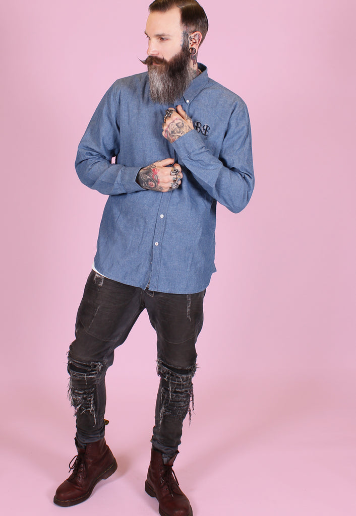 Monogram Denim Shirt - Blue - Alternative Streetwear & Street Style from Bear Knuckle Brawlers
