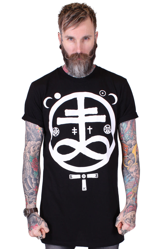 Men's Black Longline Tee - Devil - Alternative Streetwear & Street Style from Bear Knuckle Brawlers